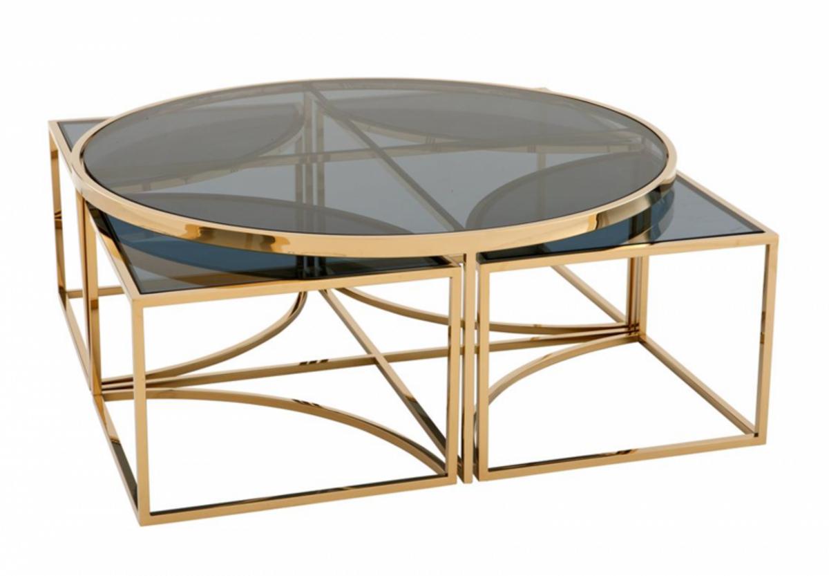 Casa Padrino Art Deco Luxus Couchtisch Gold Finish - Wohnzimmer Salon Tisch  - Luxus Qualität