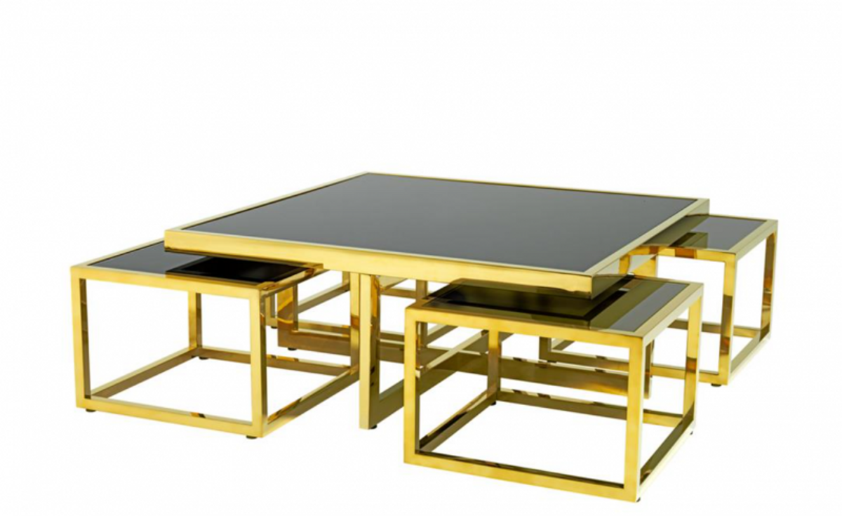 - Casa Padrino Art Deco Luxury Coffee Table Set Of 5 Gold With Black