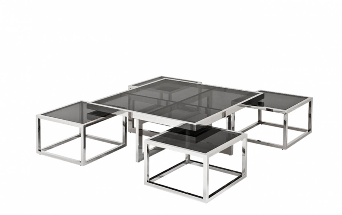 casa padrino luxus art deco designer couchtisch 5er set mit rauchglas wohnzimmer salon tisch. Black Bedroom Furniture Sets. Home Design Ideas