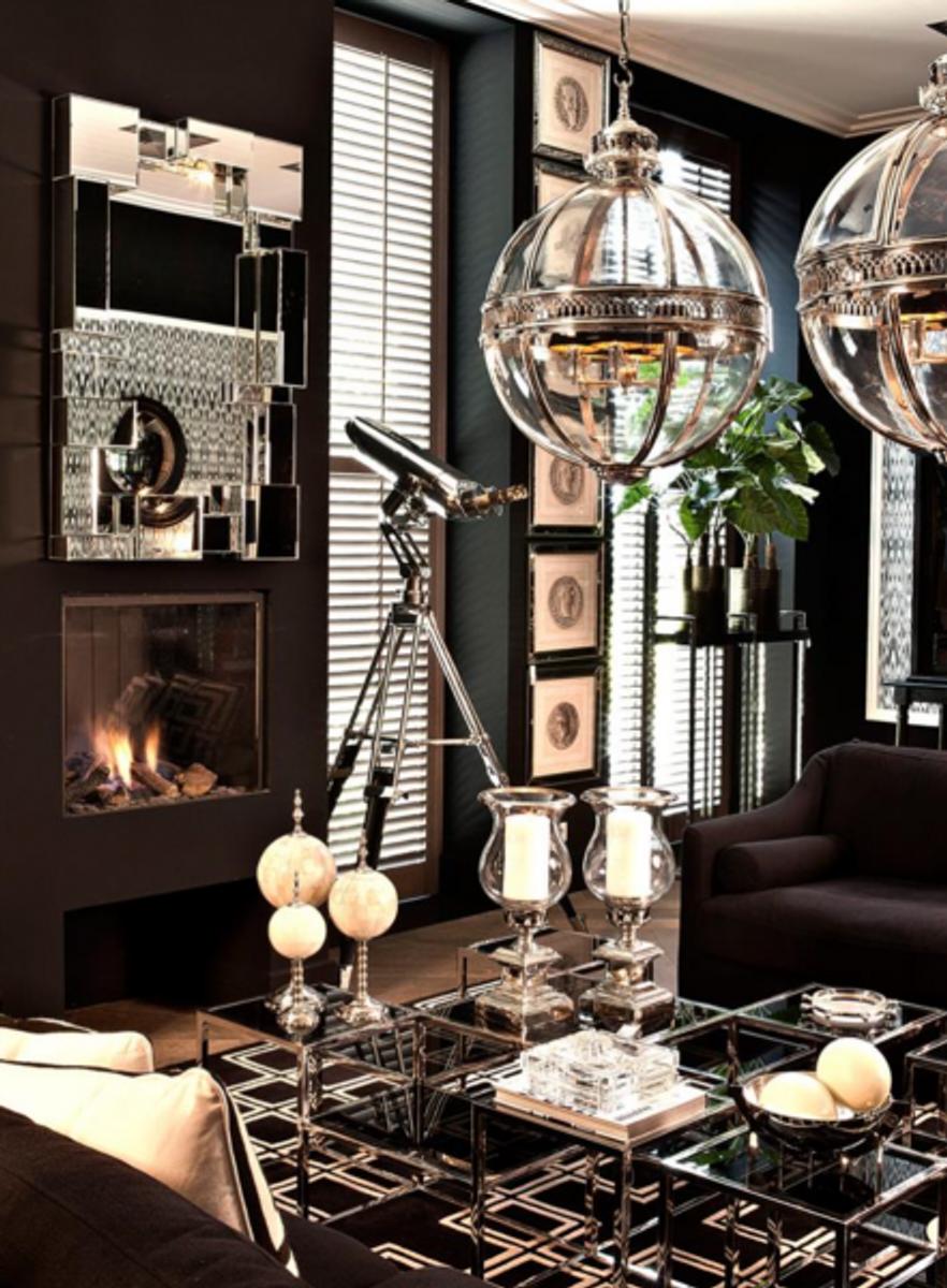 Casa Padrino Luxus Art Deco Designer Couchtisch mit Rauchglas ...
