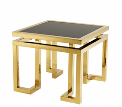 Casa Padrino luxury art deco designer side table gold with black glass - Hotel Table Furniture