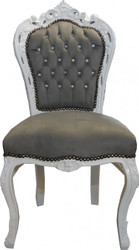 98/5000 Casa Padrino Baroque Dining Chair Gray / White with Bling Bling Glittering - Furniture Antique style