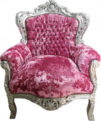 Casa Padrino Baroque Chair King Pink-Violet Velvet / Silver - Limited Edition