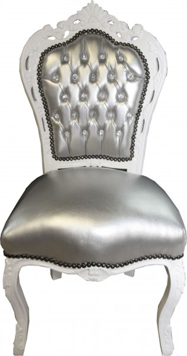 Casa Esszimmer Stuhl Mit Lederoptik Weiß Padrino Silber Barock y7gbf6