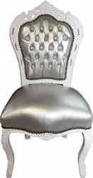 Casa Padrino Baroque Dining Chair Silver Leather / White with Bling Bling Glitter