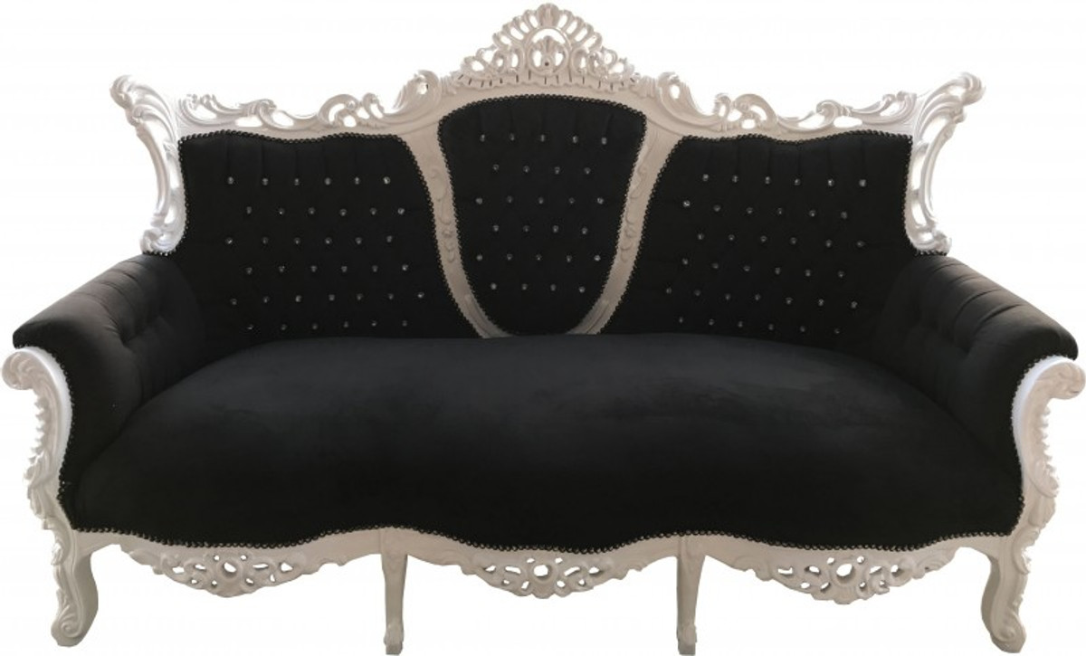 0389bc22a1fb Casa Padrino Baroque 3 seater Master Black / White with Bling Bling  diamante - Living room