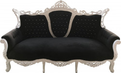 Casa Padrino Baroque 3 seater Master Black / White with Bling Bling diamante  - Living room furniture Coffee Lounge - Limited Edition