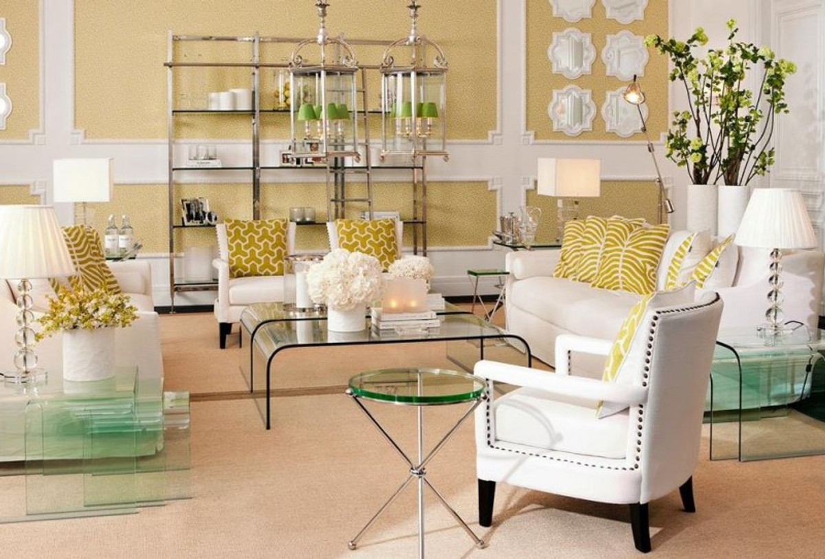 Casa Padrino Luxus Art Deco Designer Glas Beistelltisch 3er Set