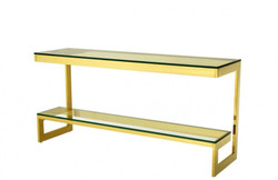 Casa Padrino Luxury Console Table Gold 160 x 45 x H. 76 cm - Console Table Furniture