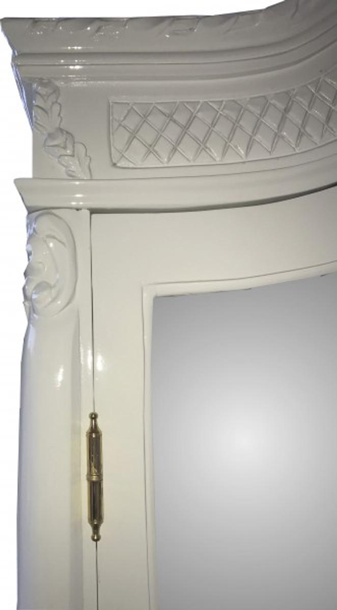 Casa Padrino Barock Kleiderschrank Weiß Hochglanz B 110 x H 230 cm Schlafzimmer Schrank - Antik Stil 2