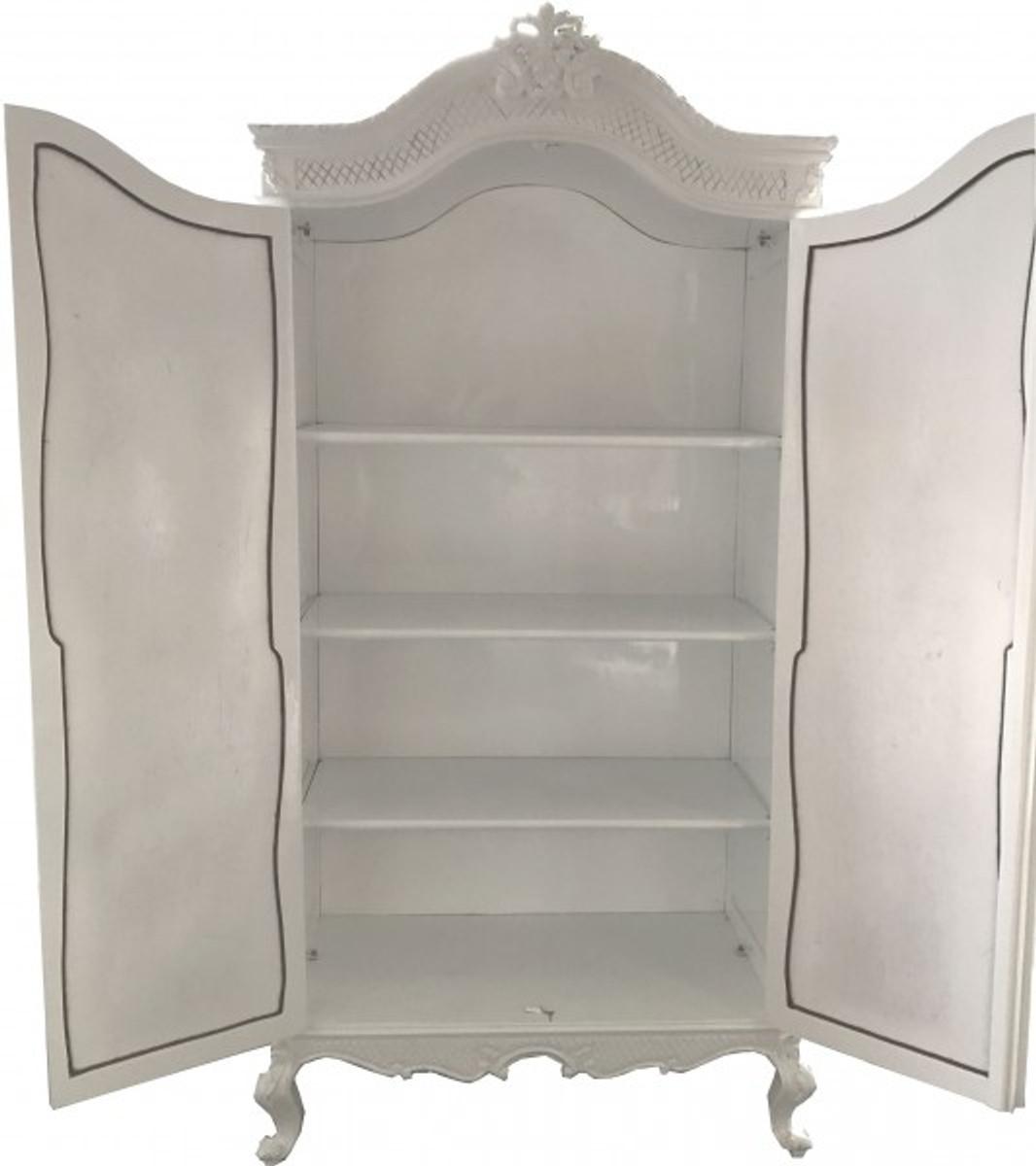 Casa Padrino Barock Kleiderschrank Weiß Hochglanz B 110 x H 230 cm Schlafzimmer Schrank - Antik Stil 5