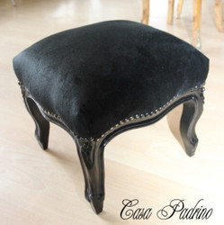 Casa Padrino ottoman Baroque Black/Black - antique style stool