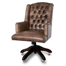 Casa Padrino luxury leather executive chair office chair medium brown swivel desk chair - head office
