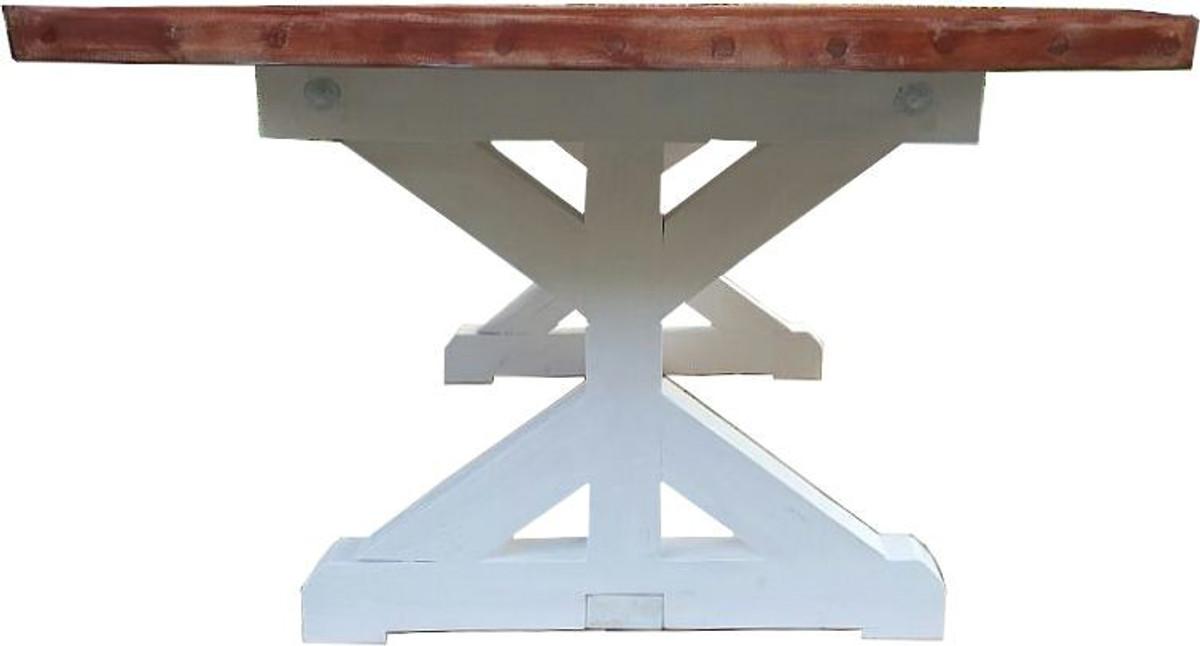 Casa Padrino Shabby Chic Esstisch Weiß Antik Stil Holzfarben 240 X
