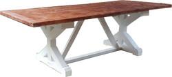 Casa Padrino Shabby Chic Esstisch Weiß Antik Stil / Holzfarben 240 x 100 cm - Landhaus Stil Tisch - Pinien Holz