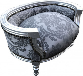 Casa Padrino Baroque Dog & Cat Sofa in Silver Bouquet Pattern / Silver - Dog Chair Seat Dog Bed Cat Bed Dog Cat Furniture – Bild 2
