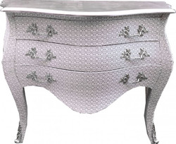 Casa Padrino Baroque Chest of drawers white / glitterlook 120 cm with silver top plate - baroque antique style furniture