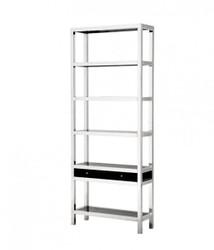 Casa Padrino luxury shelving cabinet with smoke glass and drawer - Luxury Bookshelf