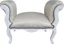 Casa Padrino Baroque stool Stool Cream Pattern / White  - Bench