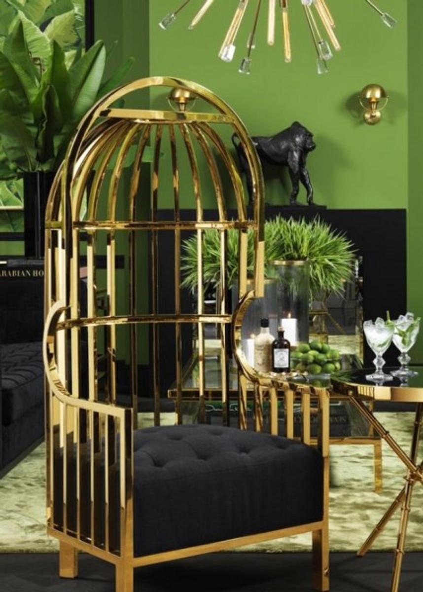 Casa Padrino Luxus Designer Art Deco Salon Sessel Schwarz / Gold - Luxus  Kollektion