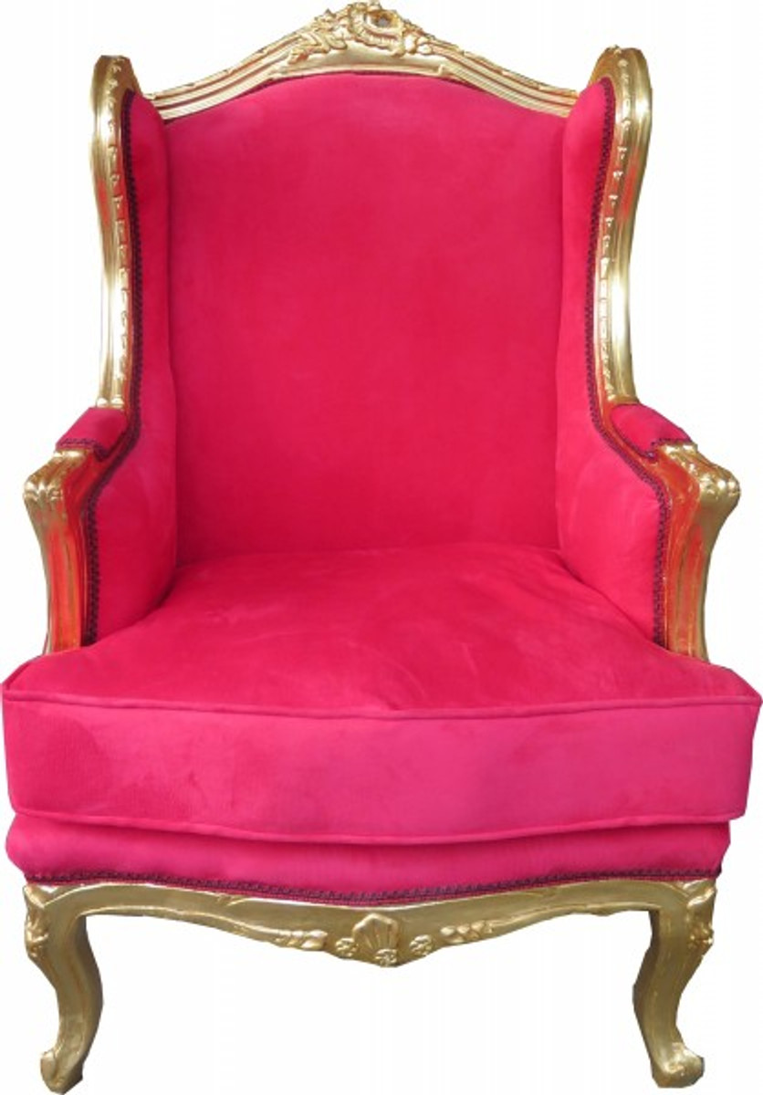 Casa padrino baroque lounge throne red gold wing for Sessel union jack