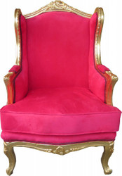 Casa Padrino Baroque Lounge throne Red / Gold - wing chairs - wing chair Tron chair