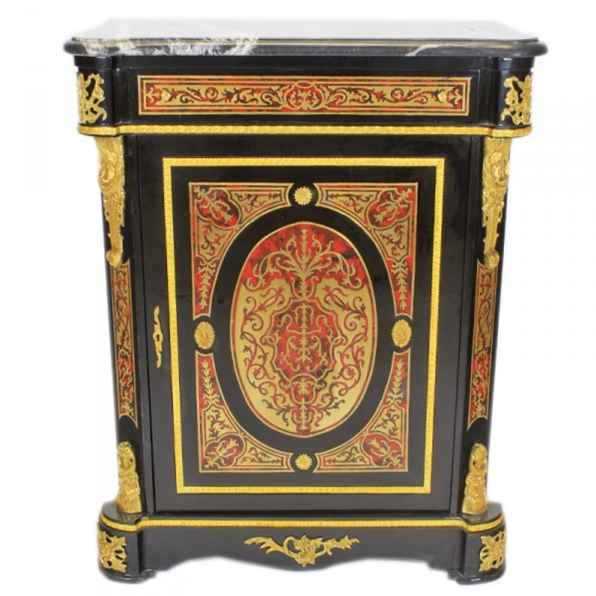 Casa padrino baroque boulle chest of drawers black gold for Sideboard 95 cm