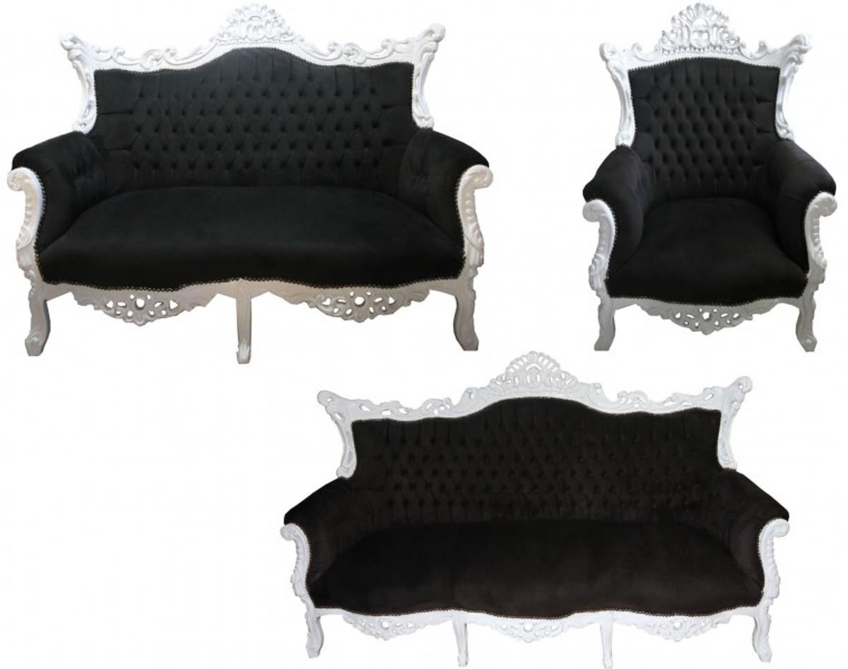 Casa Padrino Barock Wohnzimmer Set Master Schwarz/Weiss   3er Sofa+2er Sofa  + 1 Sessel