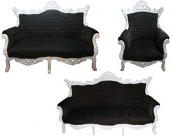 Casa Padrino Baroque Living Room Set Black/White - 3 seater +2 seater sofa + 1 chair