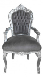Casa Padrino Baroque Dinner Chair with armrests Grey  / Silver