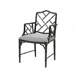 Casa Padrino luxury mahogany dining room chair with armrest black - Limited Edition