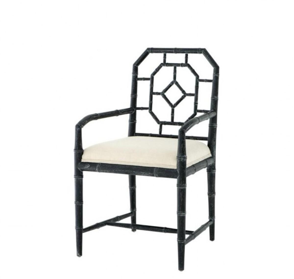 Casa Padrino Luxus Esszimmer Stuhl mit Armlehne Schwarz - Limited Edition Stühle Luxus Stühle ...