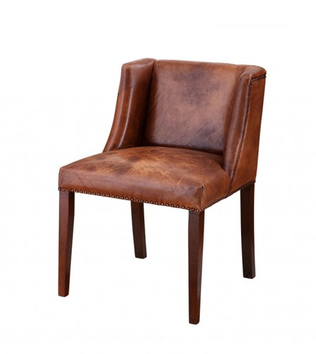 Casa Padrino Luxus Esszimmer Leder Stuhl Braun Luxus Hotel Möbel
