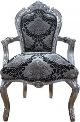 Casa Padrino Baroque dining room with armrests Silver-Black Pattern / Silver Mod2 - Antique style furniture
