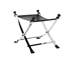 Casa Padrino luxury stool with black leather 61 x 46 x H. 48 cm - Limited Edition