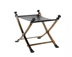 Casa Padrino luxury stool vintage brass with black leather 61 x 46 x H. 48 cm - Limited Edition