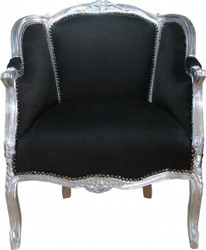 Casa Padrino Baroque Salon Chair Black / Silver - Limited Edition