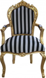 Casa Padrino Baroque Dining Chair Black / White Stripes / Gold with armrests - antique style furniture
