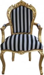 Casa Padrino Barock Esszimmerstuhl Schwarz/Weiß Streifen / Gold mit Armlehnen - Antik Stil Stuhl