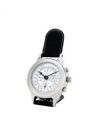 Casa Padrino Designer Luxus Uhr Nickel finish mit schwarzem Leder 10 x H. 16 cm - Hotel Dekoration