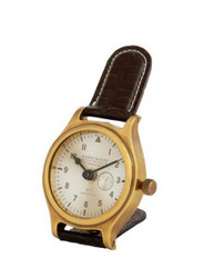 Casa Padrino designer luxury clock brass finish with brown leather 10 x H. 16 cm - Luxury Table Clock