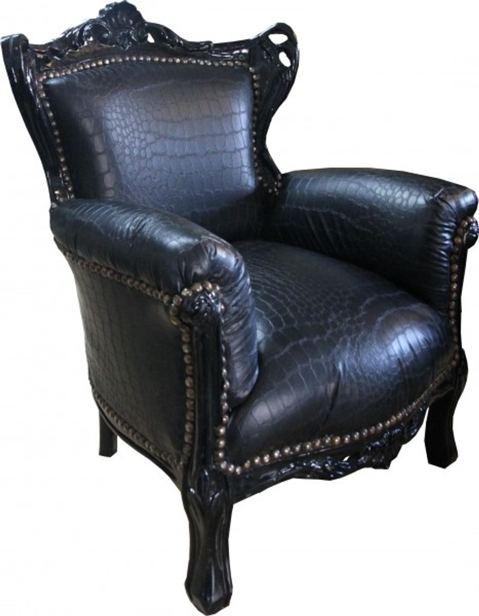 Casa padrino baroque children 39 s armchair black croco for Sessel barock