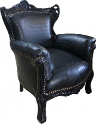 Casa Padrino Baroque Children 's Armchair Black Croco Leather / Black - Children' s Throne