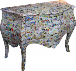 Casa Padrino Baroque chest of drawers Comic Design 130 cm, Mod3 - Handmade from solid wood - Limited Edition
