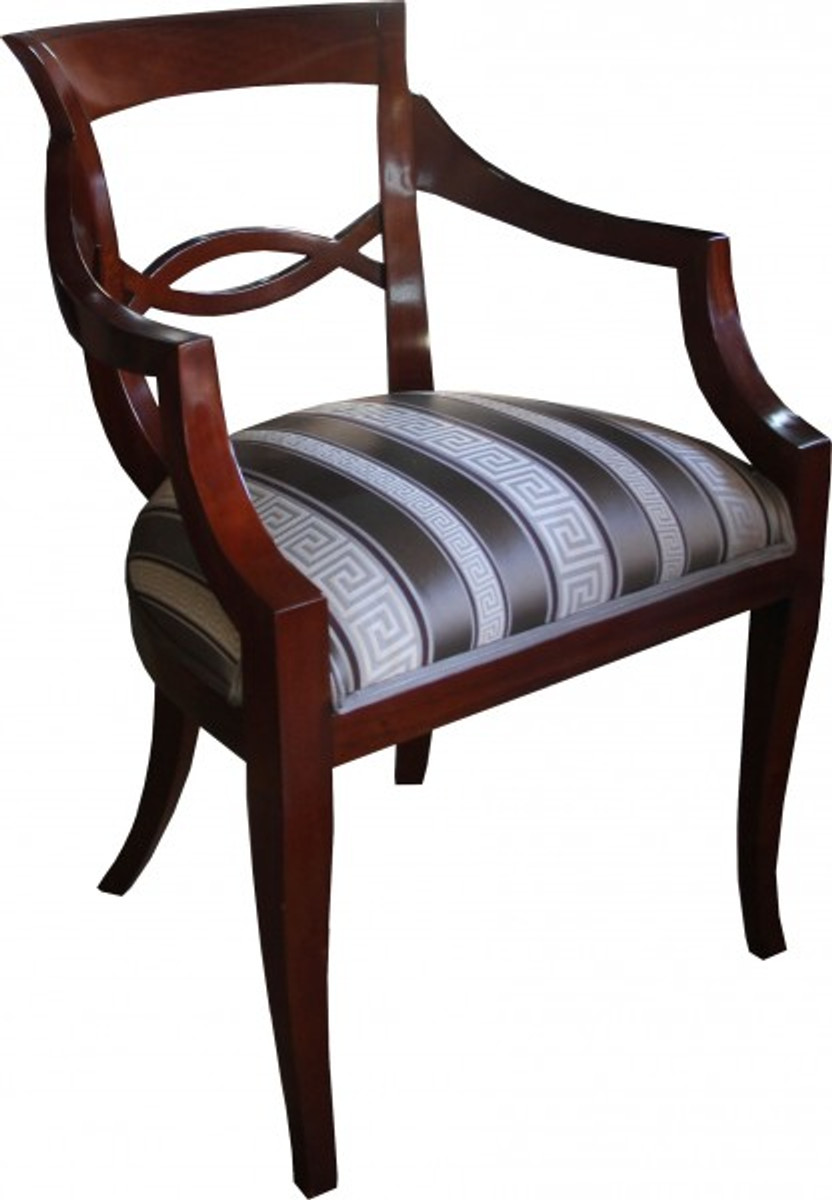 casa padrino biedermeier luxus esszimmer stuhl braun mit m ander muster stoff mod2 m bel. Black Bedroom Furniture Sets. Home Design Ideas
