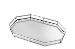 Casa Padrino luxury designer stainless steel tray nickel finish 60 x 40 x H. 5 cm - Luxury Accessories