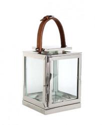 Casa Padrino Designer Deco Laterne Nickel Finish 17 x 17 x H. 23 cm - Luxus Qualität