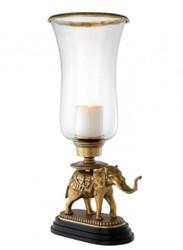 Casa Padrino Luxus Kerzenhalter Elefant Messing Finish mit Granit Sockel - Luxus Hotel Accessoires