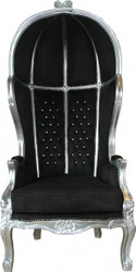 Casa Padrino Baroque Throne Armchair Victory Black / Silver with Bling Bling Glitter - Balloon Chair - Throne Chair Tron