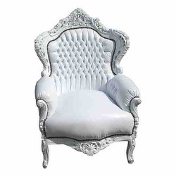 "Baroque Armchair ""King"" white / white leather look"